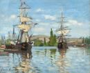 Lodě na Seině (1872) 50x60cm - Claude Monet