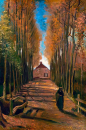 Alej topolů na podzim 50x75cm  Vincent van Gogh