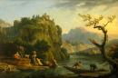 Horská krajina s řekou 50x75cm - Claude Joseph Vernet