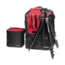 Manfrotto hliníkový statív + batoh a taška na DSLR