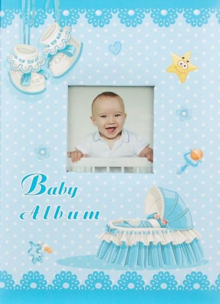 Fotoalbum 9x13 pro 200 fotografií Baby cradle modrý